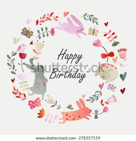 Birthday card with cute watercolor flowers, butterflies and bunnies in cartoon style - stock vector