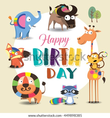 Birthday card with cute wild animal - stock vector