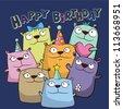Birthday card with funny cartoon bears - stock vector