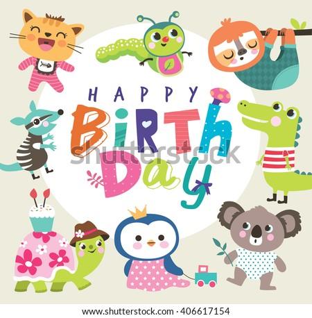 Birthday card group cute little animals stock vector 406617154 birthday card with group of cute little animals bookmarktalkfo Gallery