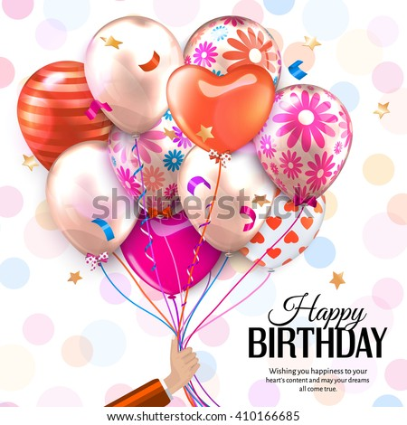Birthday card with hand holds colorful balloons. Confetti, stars, ribbon and bow on dotted background.  Vector.