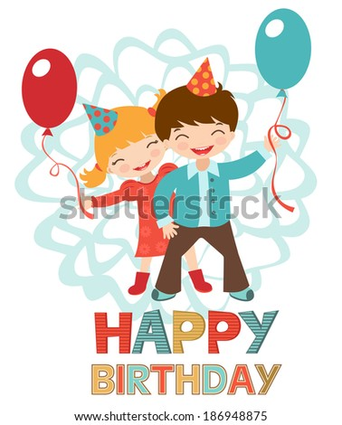 Birthday card with happy kids couple holding balloons - stock vector