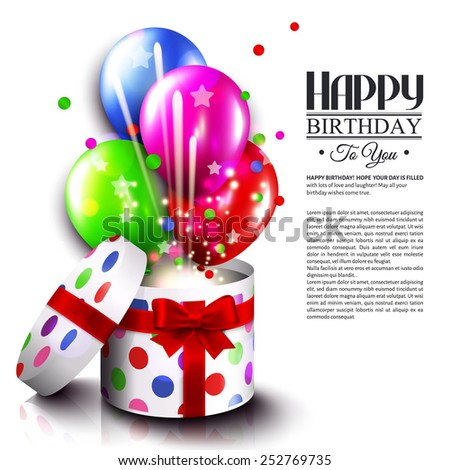 Birthday card with open gift box, balloons and magic light fireworks. Vector. - stock vector