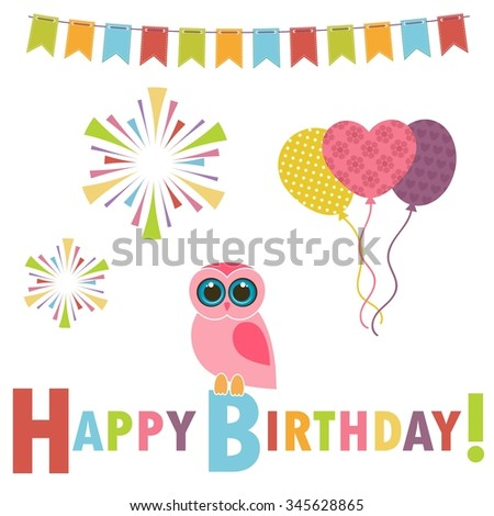Birthday card with pink owl - stock vector
