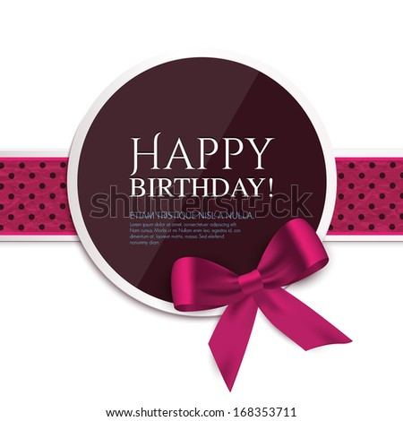 Birthday card with ribbon and birthday text. - stock vector