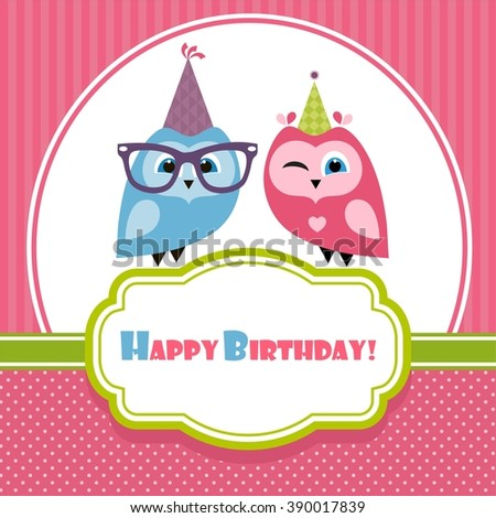 Birthday card with two owls - stock vector
