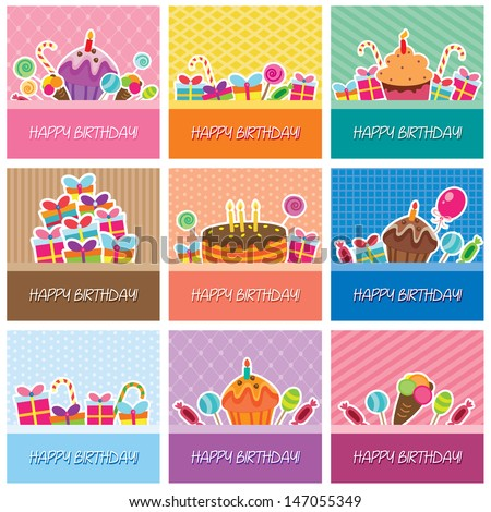 birthday cards big collection - stock vector
