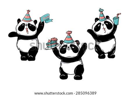birthday cards, panda, vector illustration - stock vector