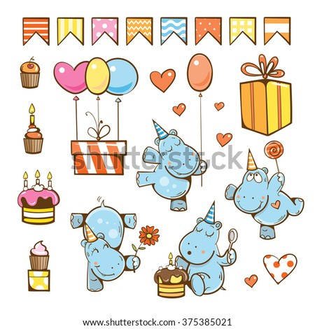Birthday cartoon set. Cute hippopotamuses, gifts, cake, candle, balloon and candy. Vector illustration. - stock vector