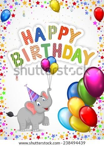 Birthday cartoon with happy elephant - stock vector
