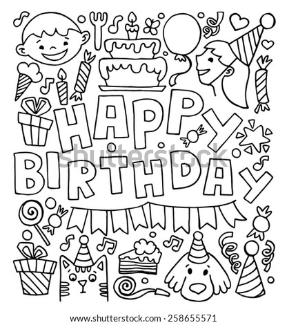 Birthday celebration attributes vector icons. Party background - stock vector