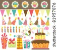 Birthday Celebration Elements - stock photo