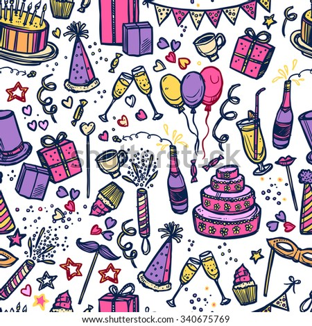 Birthday celebration party time attributes symbols and accessories colorful pictograms  seamless tileable paper pattern abstract vector illustration. Editable EPS and Render in JPG format - stock vector