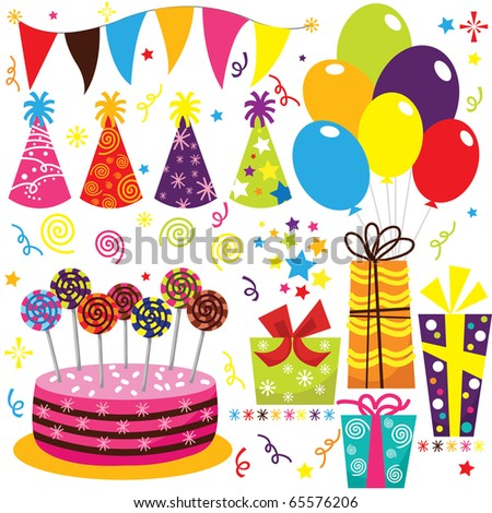 Birthday Celebration Set - stock vector