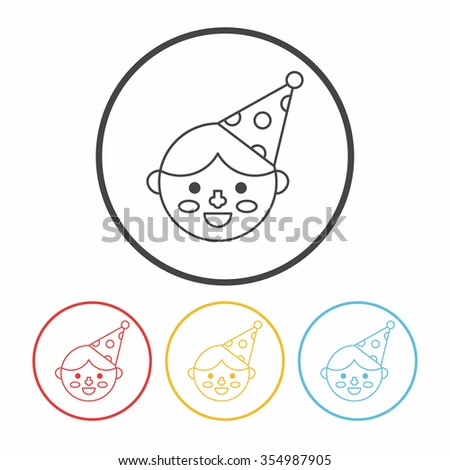 birthday character line icon