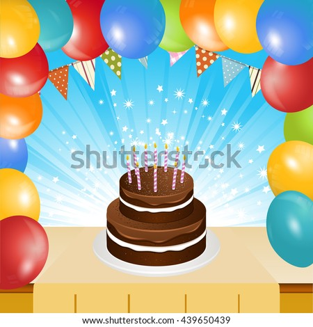 Birthday Chocolate Cake with Candles on Table Top with Balloons Frame and Star Burst Background