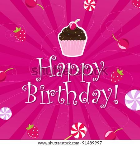 Birthday Color Card, Vector Illustration - stock vector