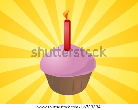 Birthday cupcake with lit candle festive illustration - stock vector