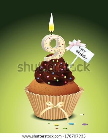 Birthday cupcake with lit candle in shape of number nine - stock vector