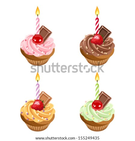 Birthday cupcakes. Set of four vector illustrations.