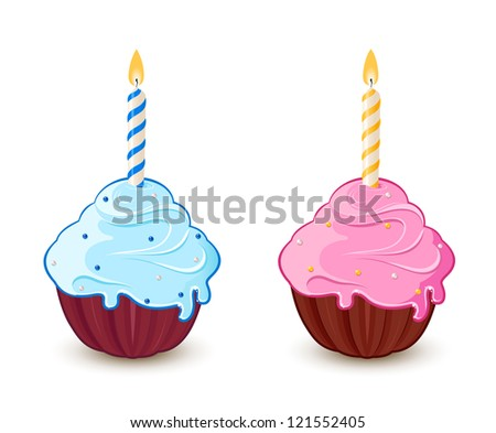Birthday cupcakes with colorful candles - stock vector