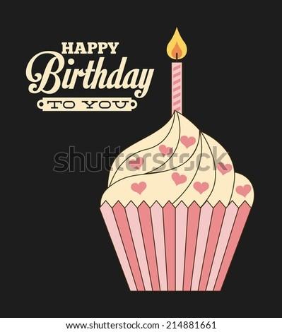 Birthday design over  black background, vector illustration - stock vector