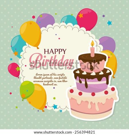 Birthday design over Green background, vector illustration. - stock vector