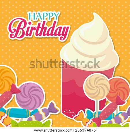 Birthday design over yellow background, vector illustration. - stock vector