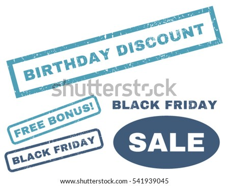 Birthday Discount rubber seal stamp watermark with additional images for Black Friday offers. Vector cyan and blue signs. Text inside rectangular banner with grunge design and dust texture.
