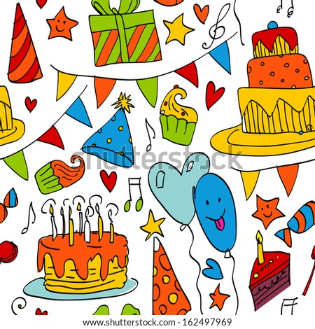 Birthday doodle sketchy vector illustration,  hand drawn icon, seamless pattern - stock vector