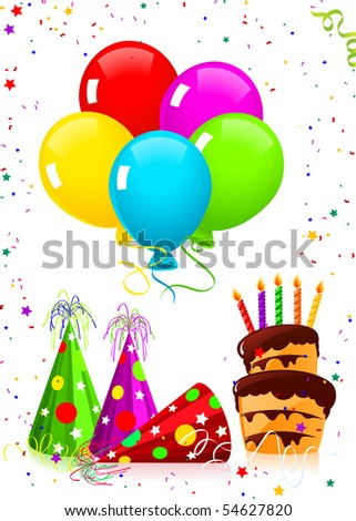 Birthday elements, vector illustration - stock vector