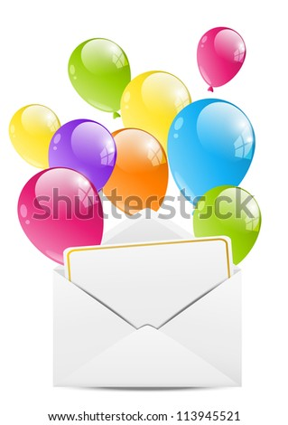 Birthday envelope with color balloon