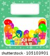 Birthday frame with multicolored balloons, box and present. vector - stock vector
