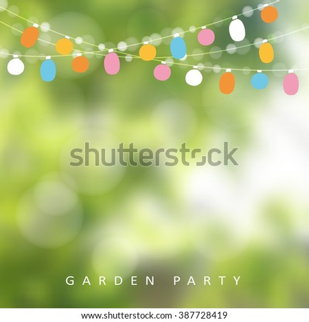 Birthday garden party or Brazilian june party, vector illustration with string of lights and blurred background - stock vector
