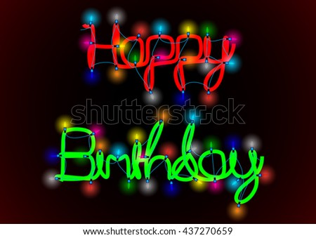 Birthday garden party, vector illustration with string of lights and blurred background - stock vector