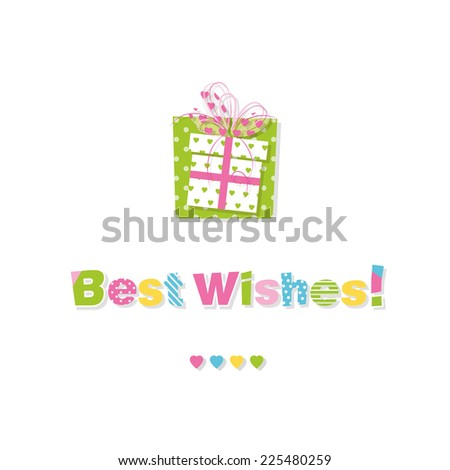 birthday gift best wishes greeting card - stock vector