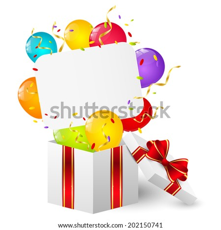 Birthday gift box with paper card - stock vector