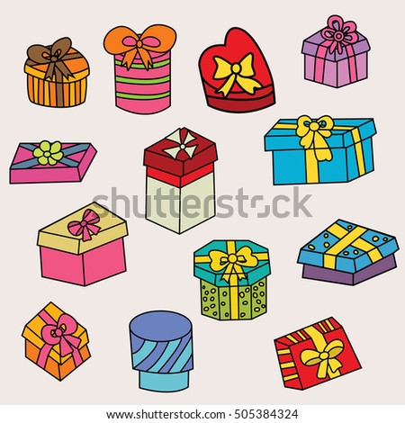 Birthday gift boxes design set cartoon stock vector 505384324 birthday gift boxes design set cartoon free hand draw doodle vector illustration negle Gallery