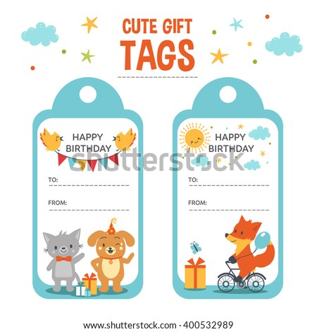 Birthday Gift tags with text place and cute animals. - stock vector