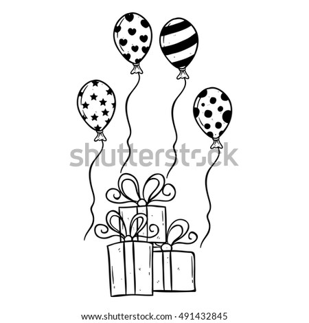 Birthday gift balloon using hand drawing stock vector 471547046 birthday gift with balloons using hand drawing style negle Image collections