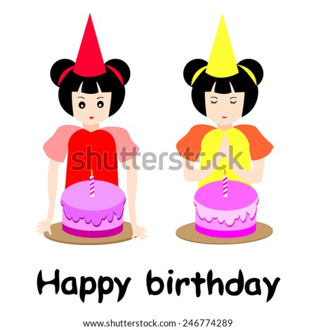 Birthday girls.Adorable girl with birthday cake isolated on white background - stock vector