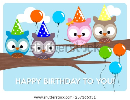 birthday greeting card, cute colorful owls to celebrate the birthday with hats and colorful balloons - stock vector