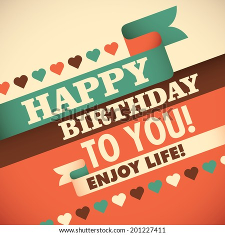 birthday greeting card design vector illustration stock vector, Greeting card