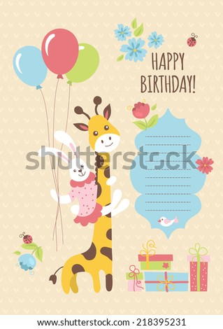 Birthday greeting card design with giraffe and bunny. Vector illustration - stock vector