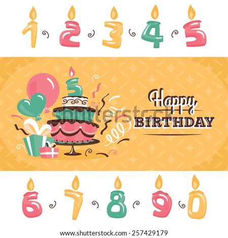 Birthday greeting card with big cake and different numbers - stock vector