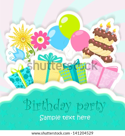 Birthday greeting card with cake, gifts, balloons and flowers, stylized paper card - stock vector