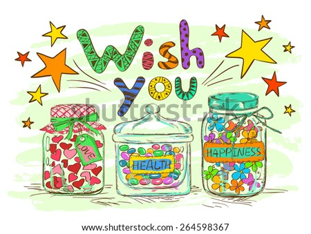 Birthday Greeting Card Cartoon Mason Jars Stock Vector 264598367
