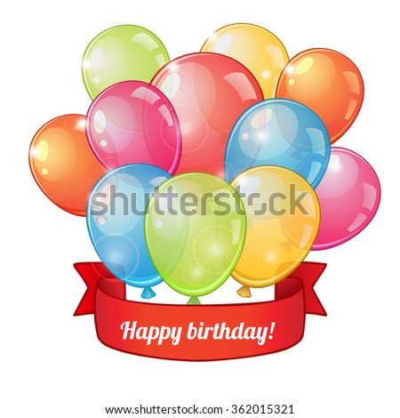Birthday greeting card with group of colorful balloons and red ribbon - stock vector