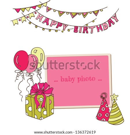 Birthday Greeting Card with Photo Frame and place for your text - in vector - stock vector