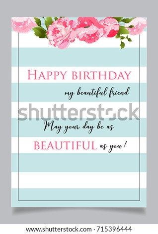 Birthday Greeting Card Text Happy Birthday Stock Vector Royalty